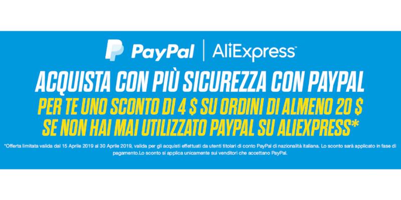 Sconto di 4$ su Aliexpress pagando con Paypal